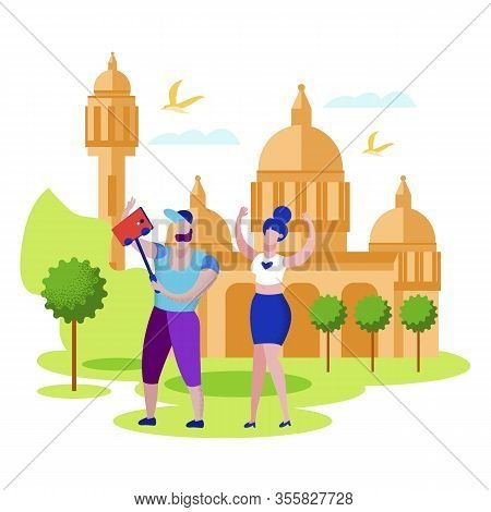 Happy Couple Traveling To India Making Selfie On Taj Mahal Architecture Showplace Background, Man An