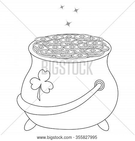 Vector Illustration. Pot Of Gold Leprechaun. Coins With A Clover Sign Glisten In A Bowler Hat. Conto