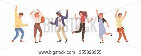 Group Of Diverse People Dancing Isolated On White. Set Of Happy Positive Man And Woman Having Fun At
