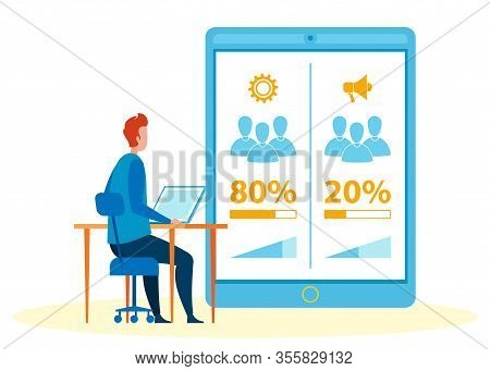 Studying Pareto Principle Flat Vector Illustration. Cartoon Researcher, Economist, Sociologist Analy