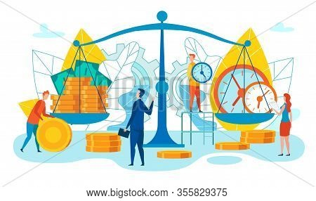 Strengths And Weaknesses Team Cartoon Vector. Men And Women Put Money And Time Scales. Equivalent Co