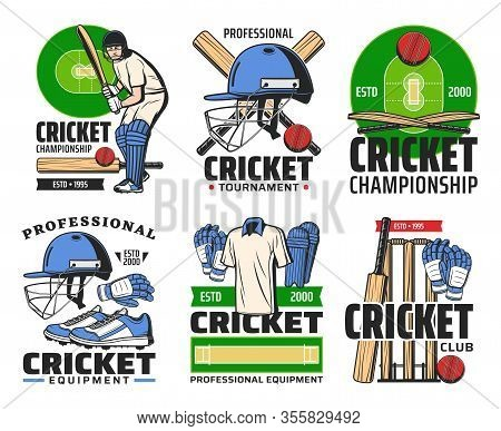 Cricket Sport Club Icons With Vector Balls, Bats And Player, Wickets And Batman On Play Field With H