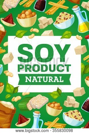 Soy Food And Beans Banner With Vector Soybean Oil, Sauce And Milk Bottles, Tofu, Tempeh And Miso Pas