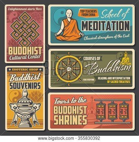 Buddhism Religion Sacred Symbols Of Vector Yin Yang, Buddhist Dharma Wheel And Buddha Statue, Lotus