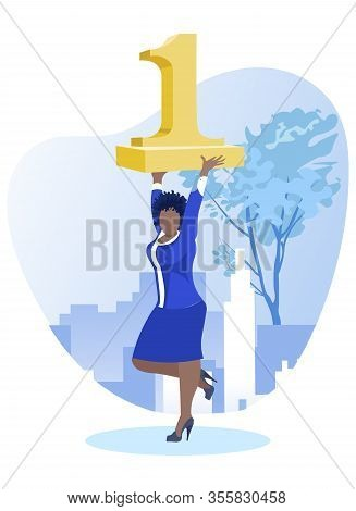 Afro Woman Dressed Smart, Holding Golden Figure One Aloft, Demonstrating Her Superiority, Looking Li