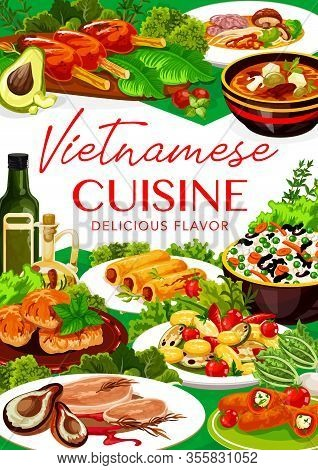 Vietnamese Cuisine Grilled Meat, Fish And Vegetable Rice Vector Design Of Asian Food. Noodle Mushroo