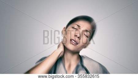Coronavirus medical professional tired feeling sick with exhaustion working on corona virus pandemic help healthcare work. Asian doctor exhausted with neck pain.