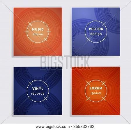 Abstract Vinyl Records Music Album Covers Set. Semicircle Curve Lines Patterns. Flat Creative Vinyl