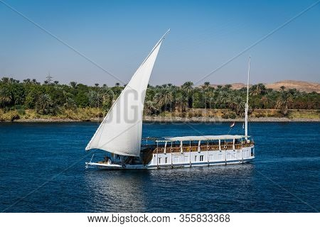 Luxor, Egypt.december 17, 2018. Typical Dahabeya With Set Sail On The Nile Between Luxor And Aswan.