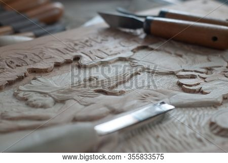 Tools For Wood Carving Close-up, Incisors On Wood Engraving,