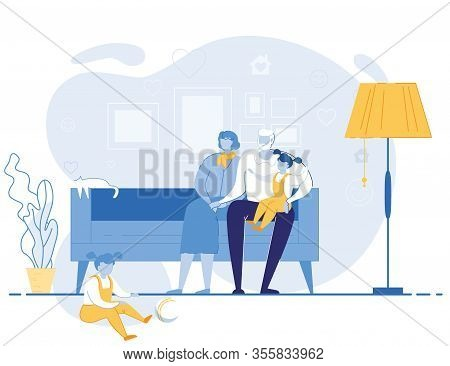 Senior People Sitting On Couch Playing With Little Girls. Kids Spend Time With Grandmother And Grand