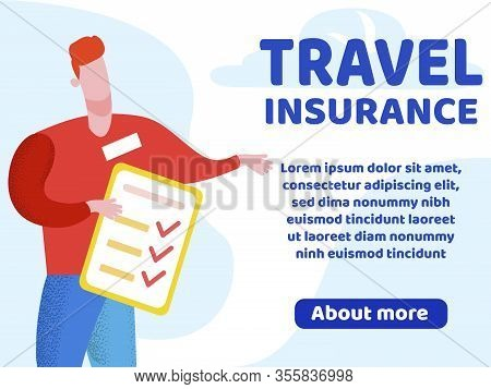 Advertising Flyer Lettering Travel Insurance. Insurance Policy Covers All Costs Associated With Paym