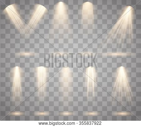 Light Sources, Concert Lighting, Stage Spotlights Set. Concert Spotlight With Beam, Illuminated Spot