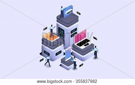 Server Room With Modern Devices, Datacenter And Cloud Storage Concept. Modern Isometric Illustration