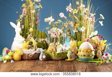 Happy Easter Background. Bouquet Of Spring Flowers. Easter Decorations And Easter Eggs In Basket On
