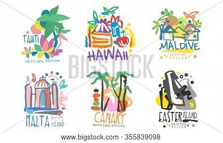 Tropical Exotic Islands Logo Design, Tahiti, Hawaii, Maldive, Malta, Canary, Easter Vector Illustrat