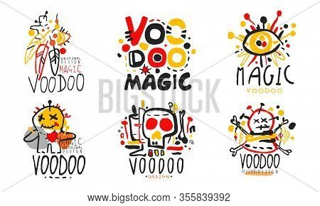 Magic Voodoo Original Design Logo Collection, African Or American Culture Hand Drawn Badges Vector I
