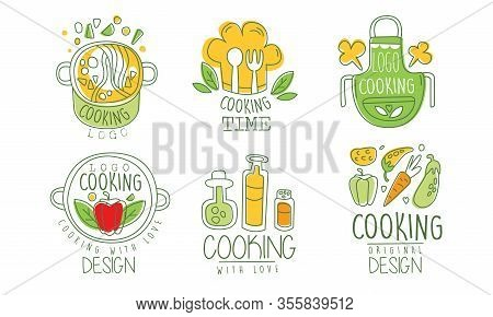 Cooking Time Logo Design Collection, Culinary Class, Kitchen, Cuisine Hand Drawn Badges Vector Illus