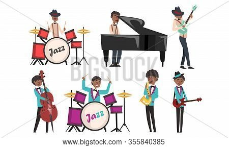 Jazz Band, African American Musician And Singers Singing And Playing Different Musical Instruments V