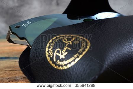Kharkiv, Ukraine - March 12, 2020: Illustrative Editorial Of The Fragment Of Ray-ban Sunglasses In T