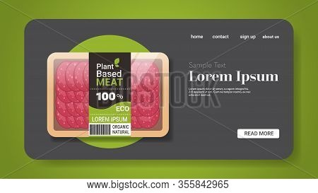Plant Based Vegetarian Salami Slices Beyond Meat In Packaging Organic Natural Vegan Food Concept Hor