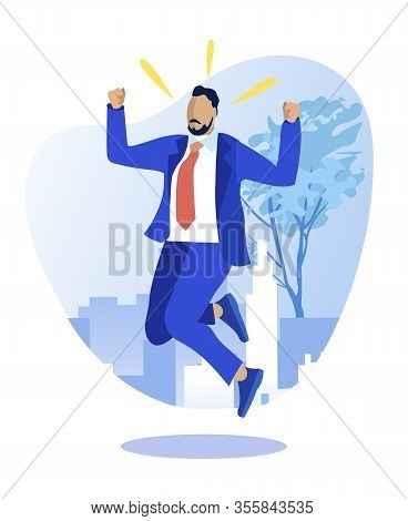 Young Man In Business Suit, Triumphing Over His Victory Or Finding Solution To His Problem, Jumping
