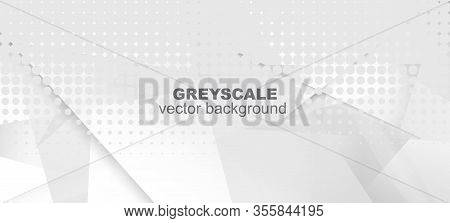 Halftone Dynamic Gray Vector Background. Modern Faded Banner. Halftone Wallpaper. Pop Art Light Dots