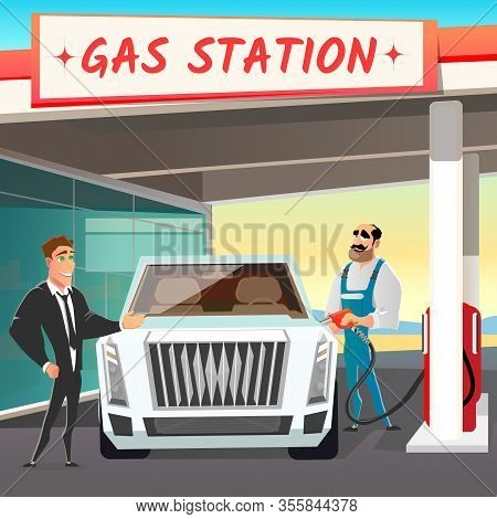 Situation On Gas Station. Car Service. Cartoon Customer In Suit And Worker Characters. Serviceman Fi