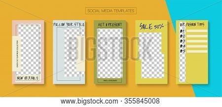 Mobile Stories Vector Collection. Blogger Funky Covers, Social Media Kit Template. Tech Sale, New Ar