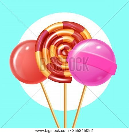 Three Round Lollipops On Blue Background. Natural Candy. Vector Illustration. Nature Composition. Fr