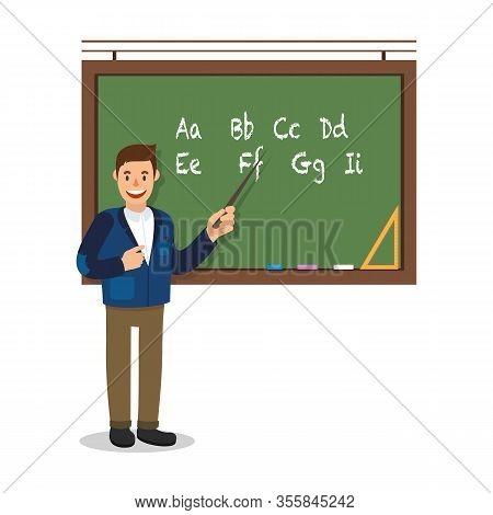Teacher Stand Near Blackboard. Show Pointer On Board In Classroom. School Education. Man Teacher Lea
