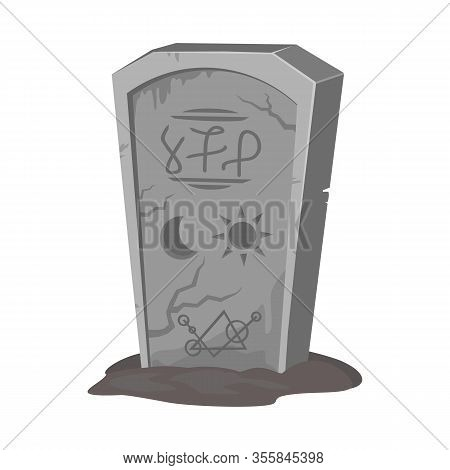 Vector Design Of Tombstone And Stone Sign. Web Element Of Tombstone And Gravestone Stock Vector Illu