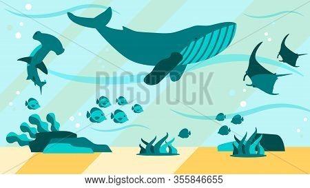 Underwater World Aquamarine Life Flat Abstract Banner Vector Design Illustration With Swimming Marin