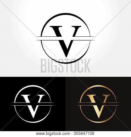 Initial Circle Letter V Logo Design Business Vector Template. Creative Abstract Letter V Logo Vector