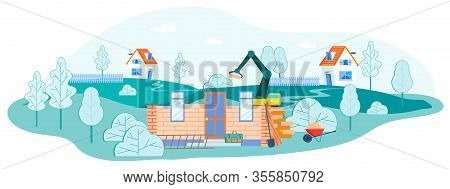 Working Process On Construction Site, Crane Put Brick On House Wall, Professional Equipment And Tech