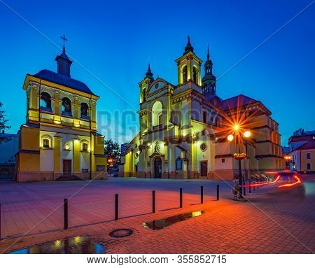 Picturesque Nightscape Of Collegiate Parish Church Of Virgin Mary, Ivano-frankivsk, Ukraine