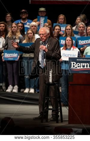Saint Louis, MO, USA - March 9, 2020: Democratic candidate Bernie Sanders speaks to supporters at the Stifel Theatre during the Bernie 2020 Rally in Saint Louis.