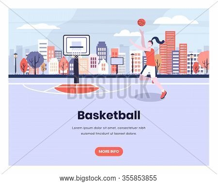 Girl Plays Basketball With Urban City Background. Woman Player, Sport, Hoop, Streetball. Vector Web