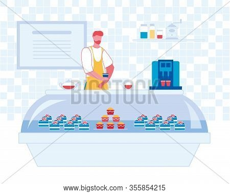 Working Barman With Beard In Apron Uniform Holding On Hand Cup Of Coffee In Bakery, Bar Or Cafeteria