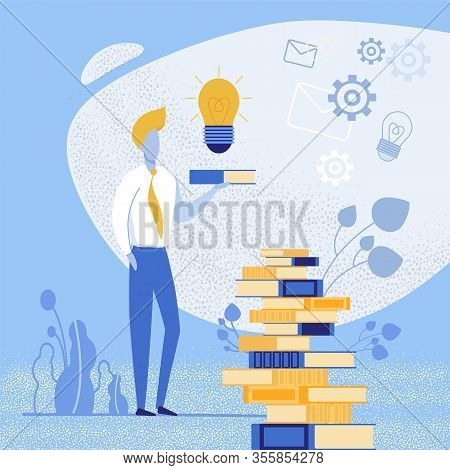 Bright Banner Find New Solutions For An Idea. Man Uses Special Applications That Will Be Useful For