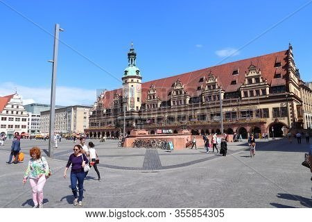 Leipzig, Germany - May 9, 2018: People Visit Markt, The Main Public Square In Leipzig, Germany. Leip