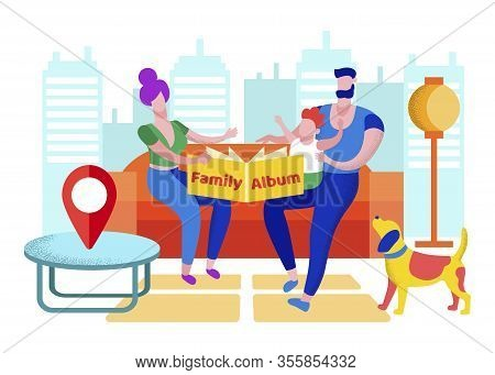 Happy Family With Baby On Hands Sitting At Home Watching Album With Pictures From Abroad Traveling.