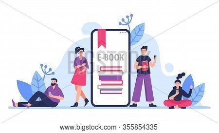 People Study And Read Books On Their Phones. E-book Concept In Flat Vector Illustration Style With M