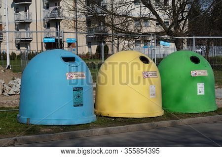 Krakow, Poland 10.03.2020: Garbage Bins Of Different Colors For Separate Collection Of Garbage And F