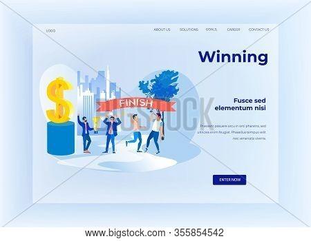 Winning Design Cartoon Business Flat Landing Page. Competition Metaphor, Struggle For Financial Succ