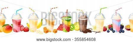 Seamless Colorful Fruit Milkshake Set Design. Vector Illustration Cartoon Flat Icon Collection Isola