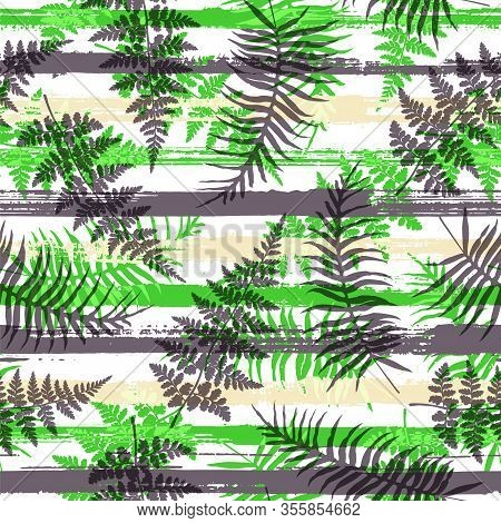Tropical New Zealand Fern Frond And Bracken Grass Over Painted Stripes Seamless Pattern Design. Bali