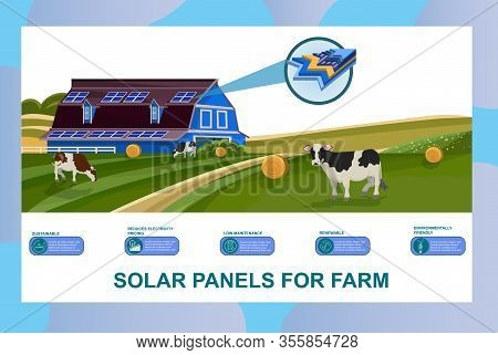 Solar Batteries For Farm Banner. Photovoltaic Panels On Building Roof Vector Illustration. Alternati