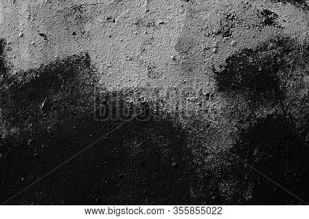 Abstract Black Background. Black Stucco Texture. Dark Rough Surface.