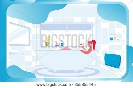Young Woman Lying In Bathroom At Home And Relax Holding Glass Of Wine To Recreation And Fresh. Harmo
